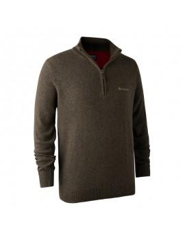 Hastings Knit Zip-Neck Brown - sveter